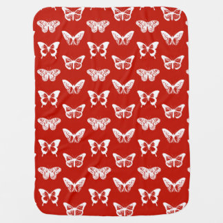 Butterfly sketch, deep red and white baby blankets