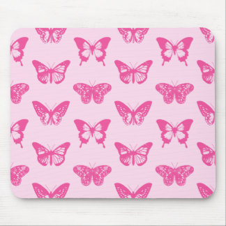 Butterfly sketch, light pink and fuchsia mouse mat