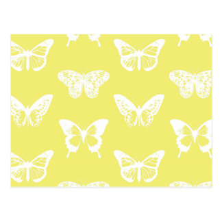 Butterfly sketch, mustard gold and white postcard