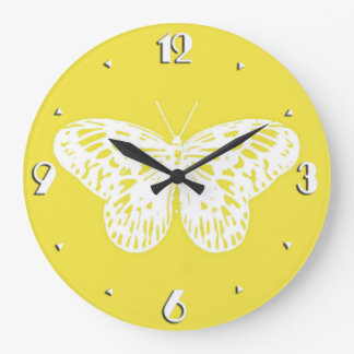 Butterfly sketch, mustard gold and white wall clock
