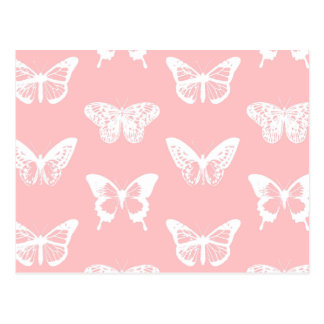 Butterfly sketch, shell pink and white postcard