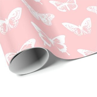 Butterfly sketch, shell pink and white wrapping paper