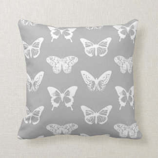 Butterfly sketch, silver grey and white cushion