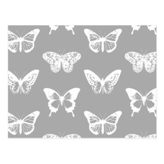 Butterfly sketch, silver grey and white postcard