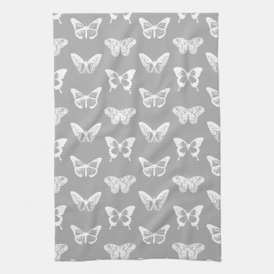 Butterfly sketch, silver grey and white tea towel