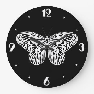 Butterfly sketch, white and black large clock