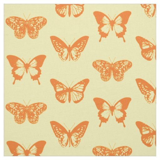 Butterfly sketch, yellow and orange fabric