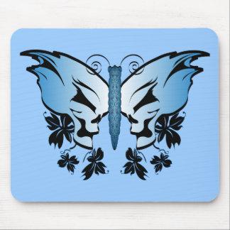 Butterfly Skull - Blue Mousepads