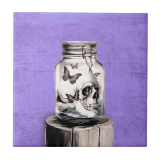 Butterfly skull in jar. Lost thoughts. Small Square Tile