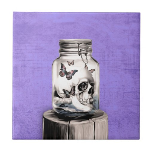 Butterfly skull in jar. Lost thoughts. Tiles