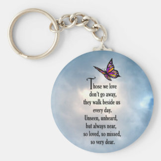 "Butterfly ""So Loved"" Poem Basic Round Button Key Ring"