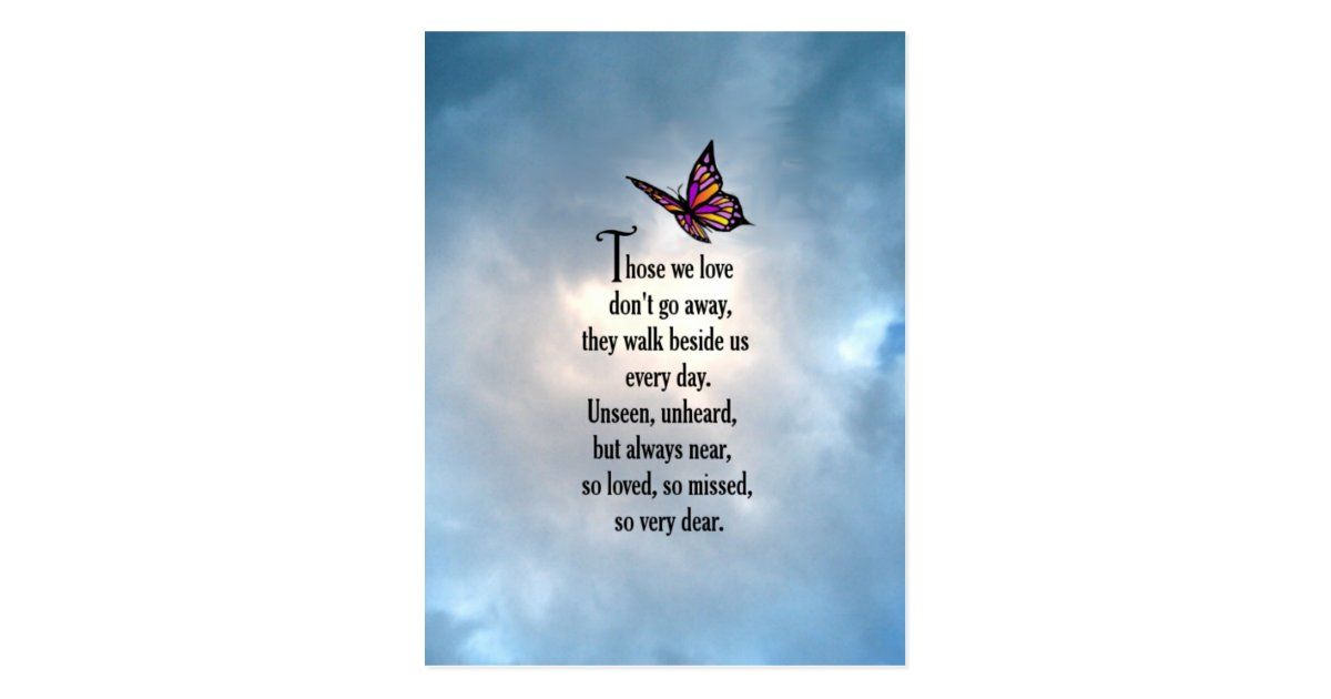 Butterfly Quot So Loved Quot Poem Postcard Zazzle Co Uk