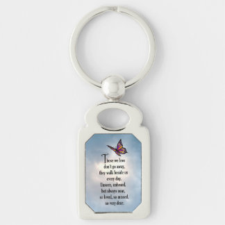 "Butterfly ""So Loved"" Poem Silver-Colored Rectangle Key Ring"