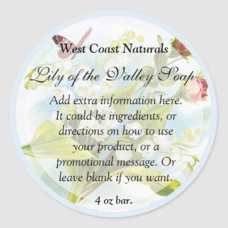 Butterfly Soap and Bath Products Label Round Sticker