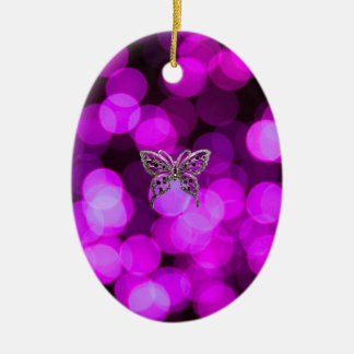 butterfly solo - violet light background christmas ornament