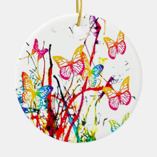 butterfly splash round ceramic decoration