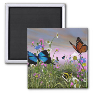 butterfly square magnet