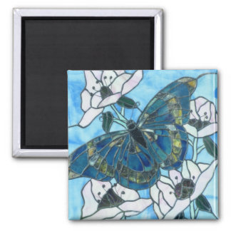 Butterfly stained glass square magnet