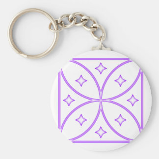 Butterfly Stars Purple Basic Round Button Key Ring