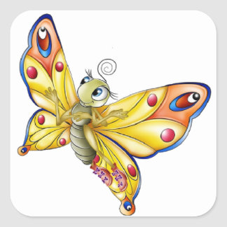Butterfly Sticker/Cute Cartoon Butterfly Square Sticker