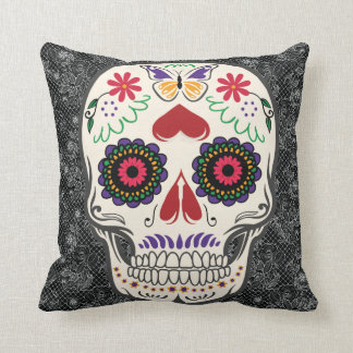 Butterfly Sugar Skull Day of the Dead Mexican Art Throw Cushions