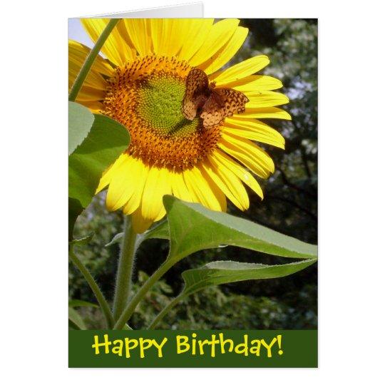 Butterfly Sunflower Birthday Card