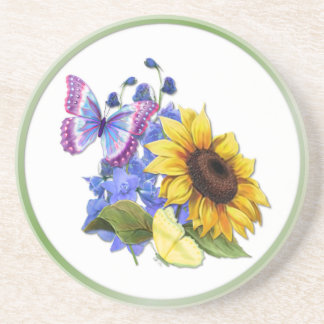 Butterfly Sunflower Garden Sandstone Coaster