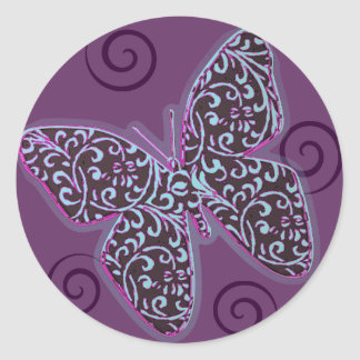 Butterfly Swirl Purple and Teal Round Sticker