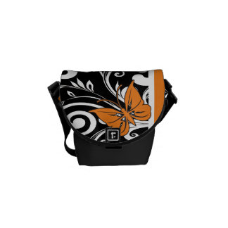 Butterfly Swirls Orange Courier Bags