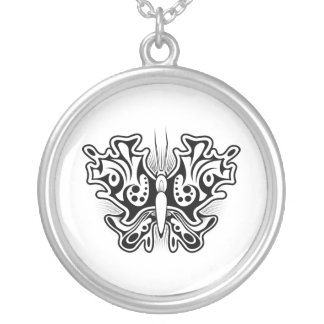 Butterfly Tattoo Black and White Round Pendant Necklace