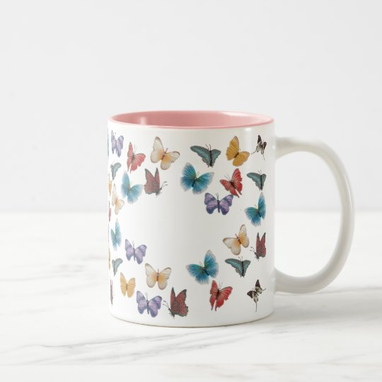 Butterfly-Template Two-Tone Coffee Mug