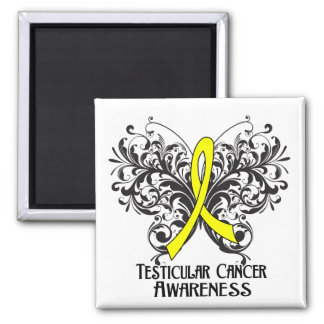 Butterfly Testicular Cancer Awareness Square Magnet