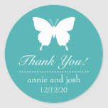 Butterfly Thank You Labels (Aqua) Round Sticker