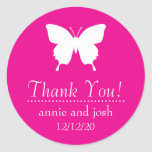 Butterfly Thank You Labels (Magenta Pink) Round Sticker