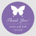 Butterfly Thank You Labels (Plum Purple) Round Sticker