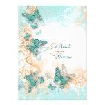 Butterfly theme wedding aqua gold invite