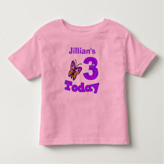 Butterfly Third Birthday Girl Shirt