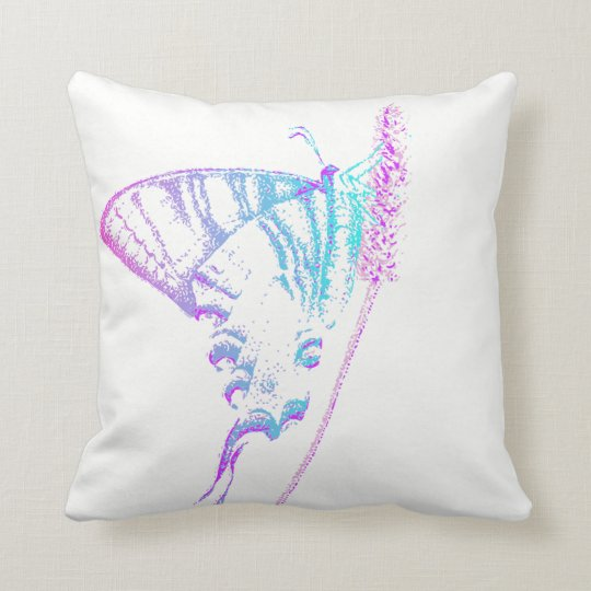 Butterfly Throw Cushion in teal and pink