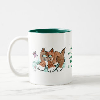 Butterfly - to Pounce or Not! Two-Tone Coffee Mug