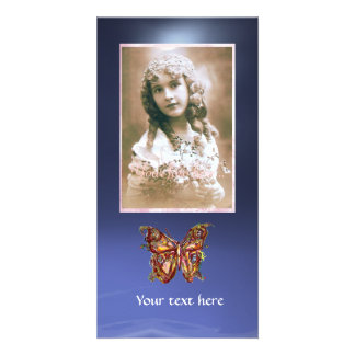 BUTTERFLY TOPAZ BLUE ,red Photo Greeting Card
