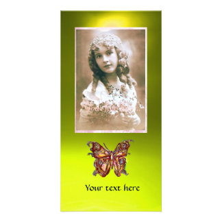 BUTTERFLY TOPAZ YELLOW ,red Custom Photo Card