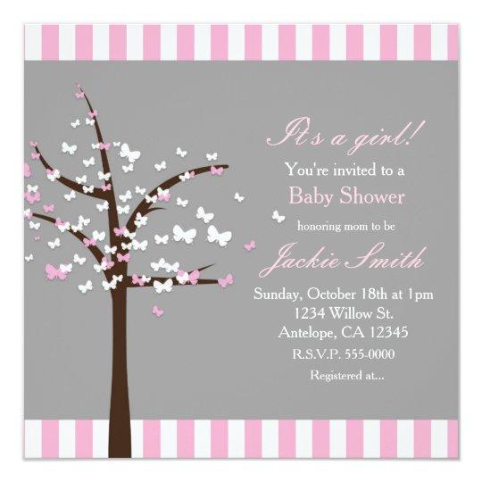 Butterfly Tree Modern Grey Baby Shower Invitation