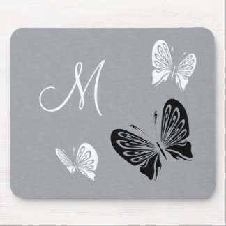 Butterfly Trio Monochrome with Initial Mouse Pad