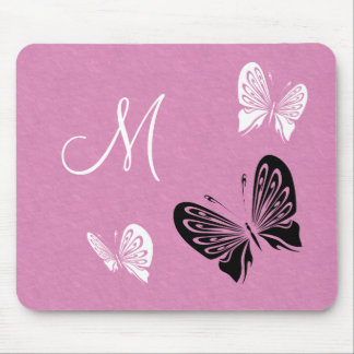 Butterfly Trio On Pink Monogram Mouse Pad