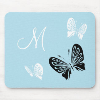 Butterfly Trio On Teal Monogram Mouse Mat
