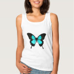 Butterfly - turquoise blue and black basic tank top