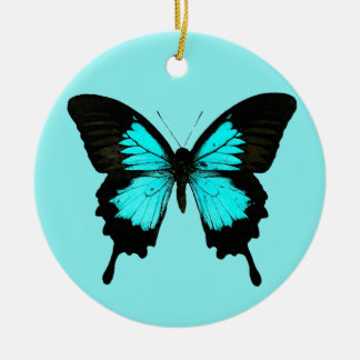 Butterfly - turquoise blue and black christmas ornament