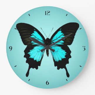 Butterfly - turquoise blue and black clocks