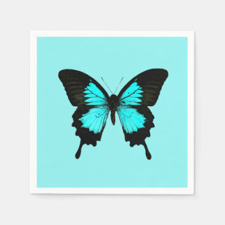 Butterfly - turquoise blue and black paper napkin