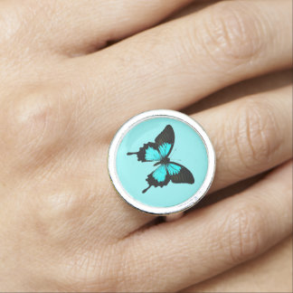 Butterfly - turquoise blue and black rings